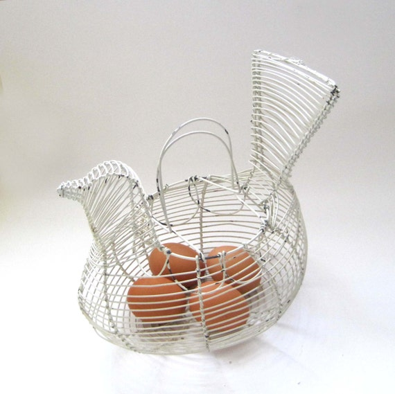 French Ceramic Sugar Bowl 1950s Folk Pottery Country Cottage: Vintage French Country Wire Egg Basket Shabby Chic White
