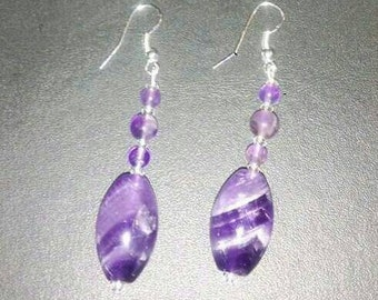 Genuine amethyst dangle earrings with amethyst beads and clear swarovski crystal