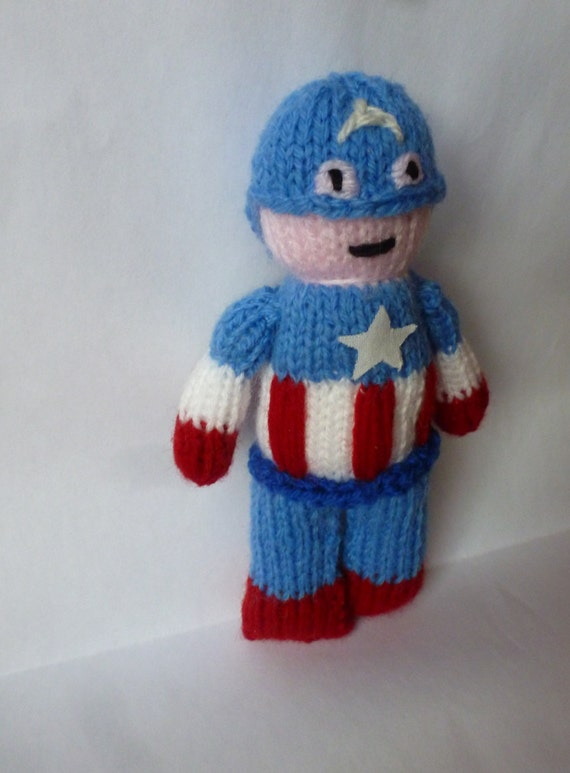 Captain America Knitting Pattern : PDF knitting pattern: Captain America from NerdKnitting on Etsy Studio