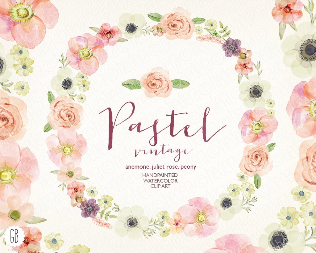 Watercolor pastel wreath juliet roses anemone peony