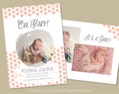 Girl Birth Announcement Template - 5x7 birth announcement template - newborn photography template  INSTANT DOWNLOAD