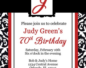 Classic Red and Black Birthday Invitation - DOWNLOAD