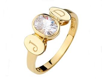 14K Yellow Gold CZ Ring, Cubic Zirconia Ring, CZ Jewelry, Cubic Zirconia Jewelry, Engraveable Ring, Engraveable Jewelry, Gold Ring