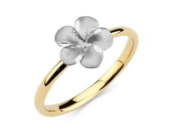 14K Two-Tone Plumeria Ring, Plumeria Ring, Gold Ring, Plumeria Jewelry, Floral Jewelry, Floral Ring, Flower Ring, Fancy Ring, Ring, Plumeria