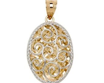 14K Two-Tone Diamond-Cut Oval Pendant, Oval Pendant, Diamond-Cut Pendant, 14K Gold Pendant, Gold Pendant, Fancy Pendant, Fancy Jewelry