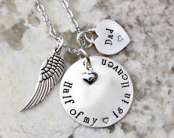 Heart in Heaven Personalized Hand Stamped Sterling Silver Remembrance Necklace - One Heart