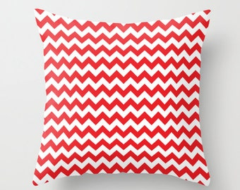 Red and White Chevron Accent Pillow Cover - Throw Pillows - Decorative Pillows