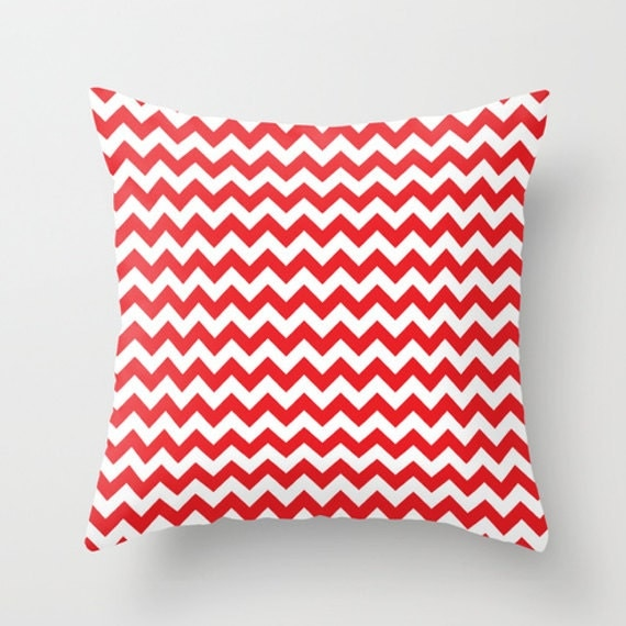 Throw Pillows With Red Accents : Red and White Chevron Accent Pillow Cover Throw Pillows