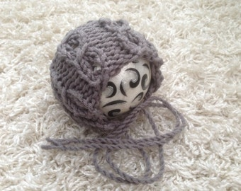 Newborn ,0-3,3-6,6-12 month and toddler cables round back chunky knit bonnet