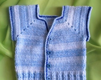 Boys Vest, Crochet Boys Vest,  6 Months to 9 Months, Toddler Clothes, Sweaters, Baby Clothes, Blue & White Crochet Boys Vest, Winter clothes