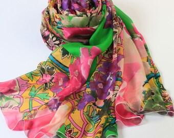 Floral Silk Scarf - Pink Floral Silk Scarf - Green Silk Scarf - Large Silk Scarf - Silk Scarf with Floral Print -AS 2015-22