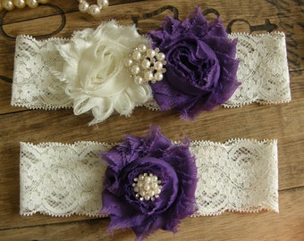 Ivory & Purple Wedding Garters / Garter / Bridal Garter / Toss Garter / Vintage Inspired / Garter Set