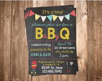 Printable BBQ Baby Shower Invite-Chalkboard BBQ Invitation-It's A Boy-You Print