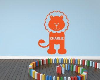 Personalised Lion Wall Sticker, Lion Wall Decal, Jungle Wall Art, Animal Wall Transfers, Nursery Wall Stickers - PE007