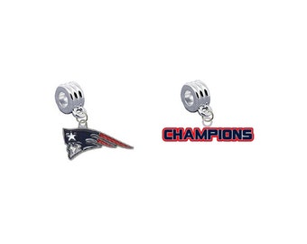 New England Patriots & CHAMPIONS 2 Pack European Charm for Bracelet