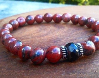 Red Sesame Jasper & Hemalyke Power Bracelet -Elastic- Crystal Healing Jewelry, Gift for Him or Her, Supreme Nurturing Crystals