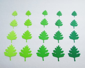Paper  leaf die cuts /Oak paper leaves/ Green shade leaves/ Die Cut Leaves/ 50 pc set