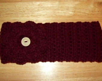 Crochet Headband Ear Warmer, Burgundy, with Removable  Flower. Teen to Adult Size.