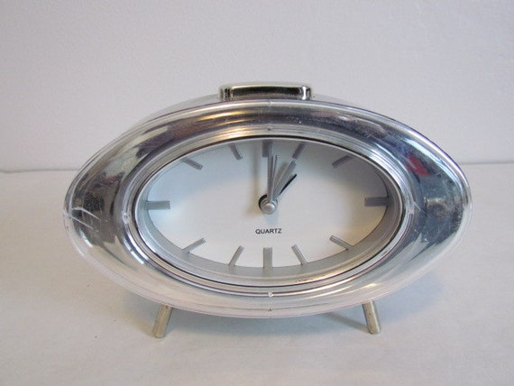 Atomic Alarm Clock Retro Silver Bedside Battery By Kozykitchy