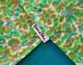 Serious Spring:Vintage Abstract Yellow, Gold, Green Print on Aqua Blue Cotton Solid Reversible Bandana with Stash Pocket by BandHäna