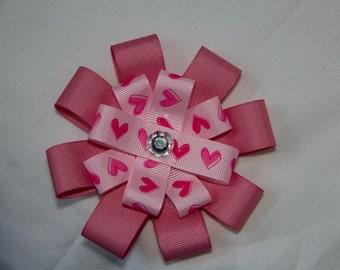 Valentine's Day Heart Hair Bow Clip