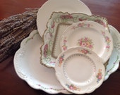 Shabby Chic Pink Roses Plate Collection, Antique and Vintage, Johnson Bros English Large Platter, Homer Laughlin Plate, Cake Plate