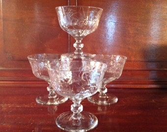 Vintage Cut Crystal 4 Sherbert Low Stemmed Glasses