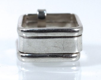 Square Stacked Slave Ring, Three Stacked Sterling Silver Rings - Size 5