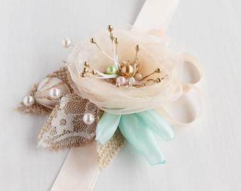Peach Wrist Corsage, Beach Wedding Bracelet, Bridesmaid Gift, Lace Burlap Corsage, Rustic Beach Corsage, Bridal Cuff Bracelet, Beach Corsage
