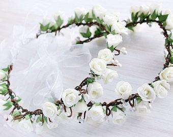 Ivory Rose Crowns, Girls Crowns, Flower Girl Halo, Toddler Crown, Rose Head Wreath, Boho Flower Girl, Woodland Circlet, Ivory Girls Crowns