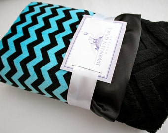 Minky Cuddle Zig Zag Chevron Baby Blanket in Black and Turquoise with Embossed Chevron