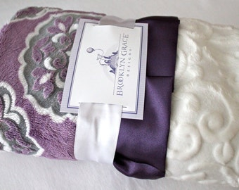Mar Bella Barcelona in Violeta, Gray and White Minky Medallion Print with White Embossed Vine, Eggplant Satin, Baby Shower, Crib Bedding