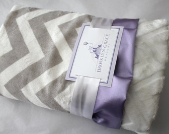 Silver - Gray and White Chevron Minky Blanket with White Embossed Chevron Print and Lavender Satin - Purple, Baby Girl, baby shower, Nursery