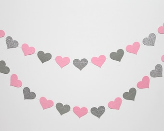 Pink, gray, and silver glitter paper heart garland, wedding, party, decoration