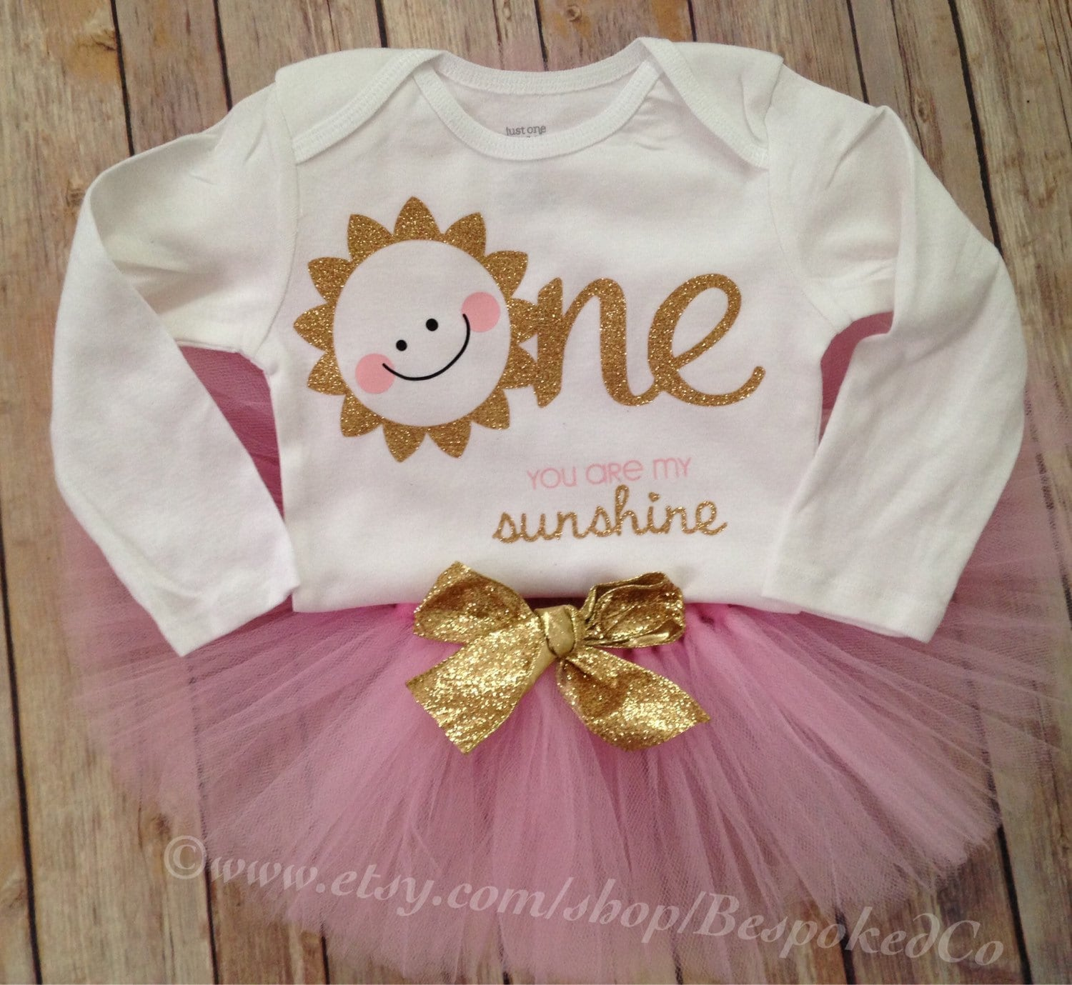 You Are My Sunshine First Birthday Outfit/Pink And Gold By