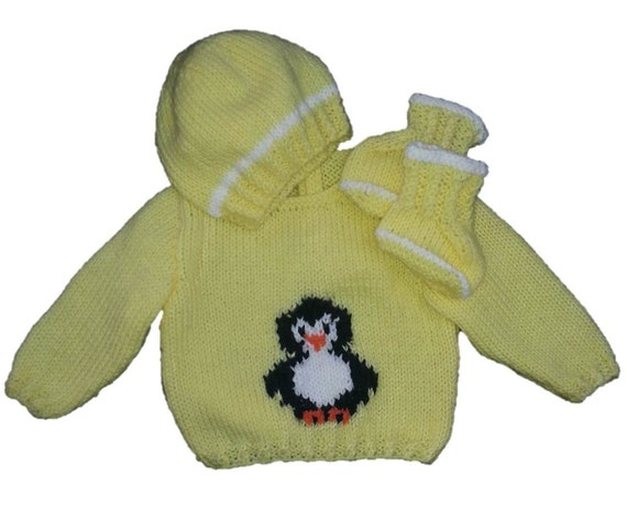 Penguin Sweater and Hat Knitting Pattern, Boy and Girl Knitting Pattern, Peng...