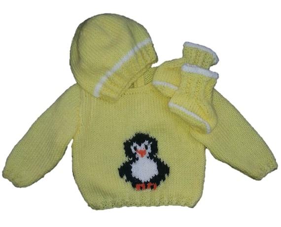 Free Knitting Pattern For Baby Cardigan : Penguin Sweater and Hat Knitting Pattern, Boy and Girl Knitting Pattern, Peng...