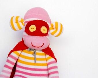 Superhero Sock Monkey Pink stuffed animal Orange stripes monkey room decor Baby shower gift White Super Hero monkey room decor Handmade