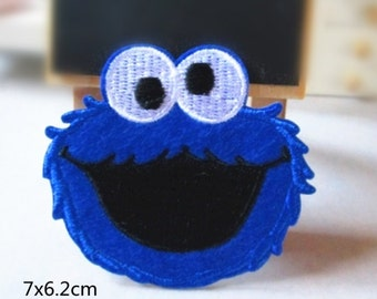 Wholesale LOT :   8pcs  cookie Monster   iron on  sewing patch, DIY craft 7x6.2cm