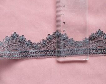wholesale lot 7YARDS  dark grey  frill Lace Trim diy wedding dress doll   3cm