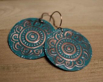 Copper Disk Earrings