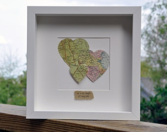 Personalised Original Vintage Three 3 Heart Map Picture