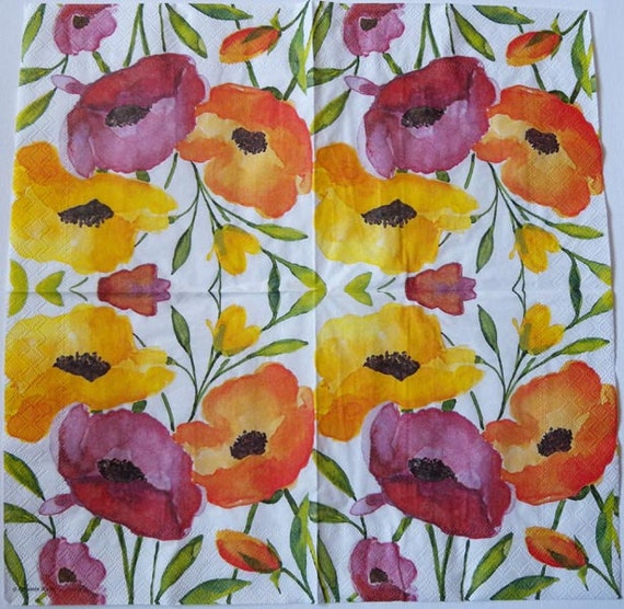 4 Decoupage Napkins Poppies In Watercolor Poppy