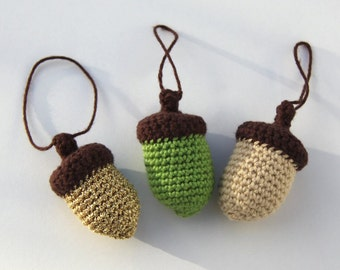 Crocheted Acorn - Set of Three Different