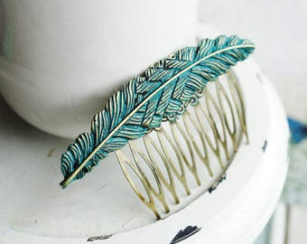 Hair Comb, turquoise patina feather hair comb