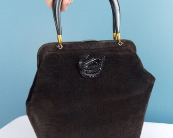 1950's Black Velour Handbag with Plastic Handles