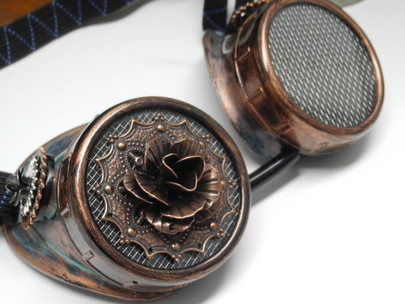 Steampunk Goggles with Metal Rose Victorian Industrial Cosplay Nautical Pirate Scientist Victorian Larp Burningman Burning Man