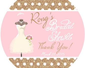 Bridal Shower Personalized Stickers, Anniversary Personalized Labels, Bridal Dress Stickers - Gold