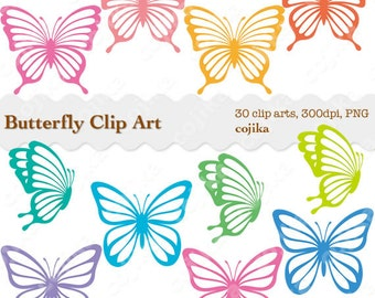 Butterfly Clip Art, Rainbow Butterflies Cliparts, 30 pieces, PNG files -E072- Instant Download