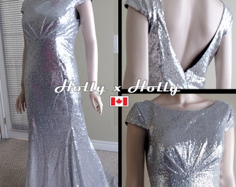 Grey bridesmaid dress, Silver sequin bridesmaid dress, Silver sequin dress, Christmas party dress